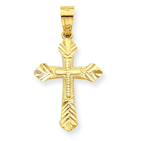 10k Yellow Gold Budded Cross Pendant LAL72040