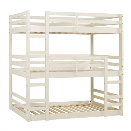 Solid Wood Triple Bunk Bed White