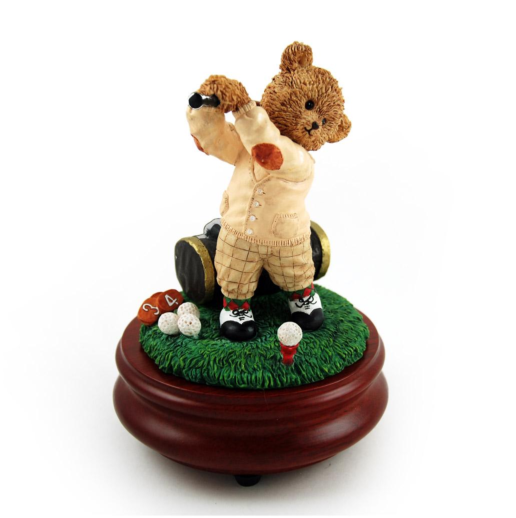 Thread Bears - The Perfect Swing with Golfer Threadbear Musical Figurine - Blue Hawaii (L Robins)