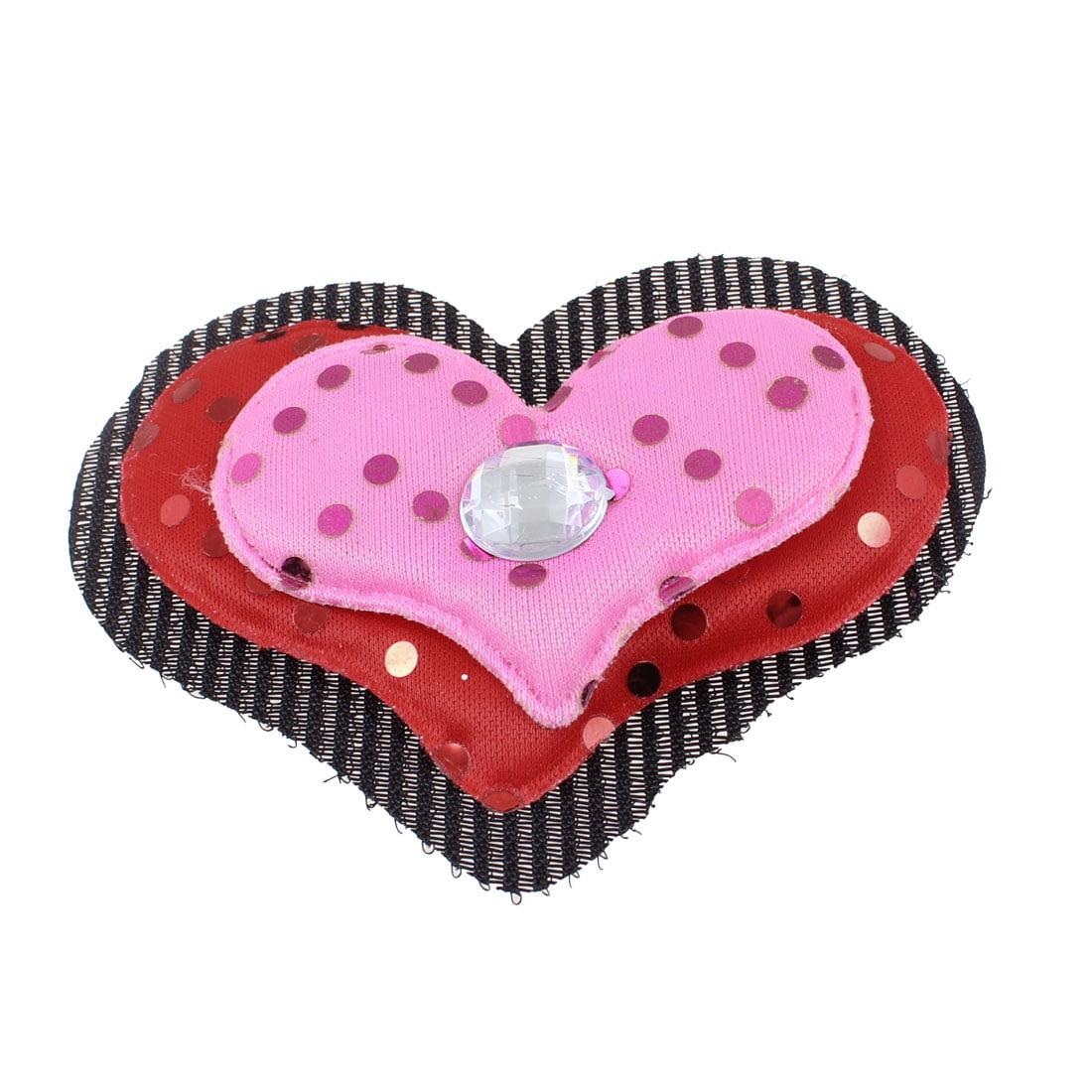 Unique Bargains Girls Pink Red Fuchsia Heart Shape Hair Bangs Foretop Magic Sheet