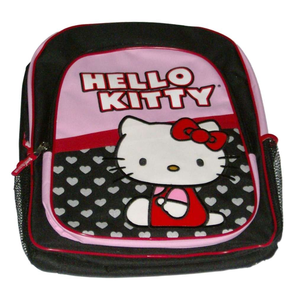 Hello Kitty Black & Pink Backpack Kids Travel School Back Pack