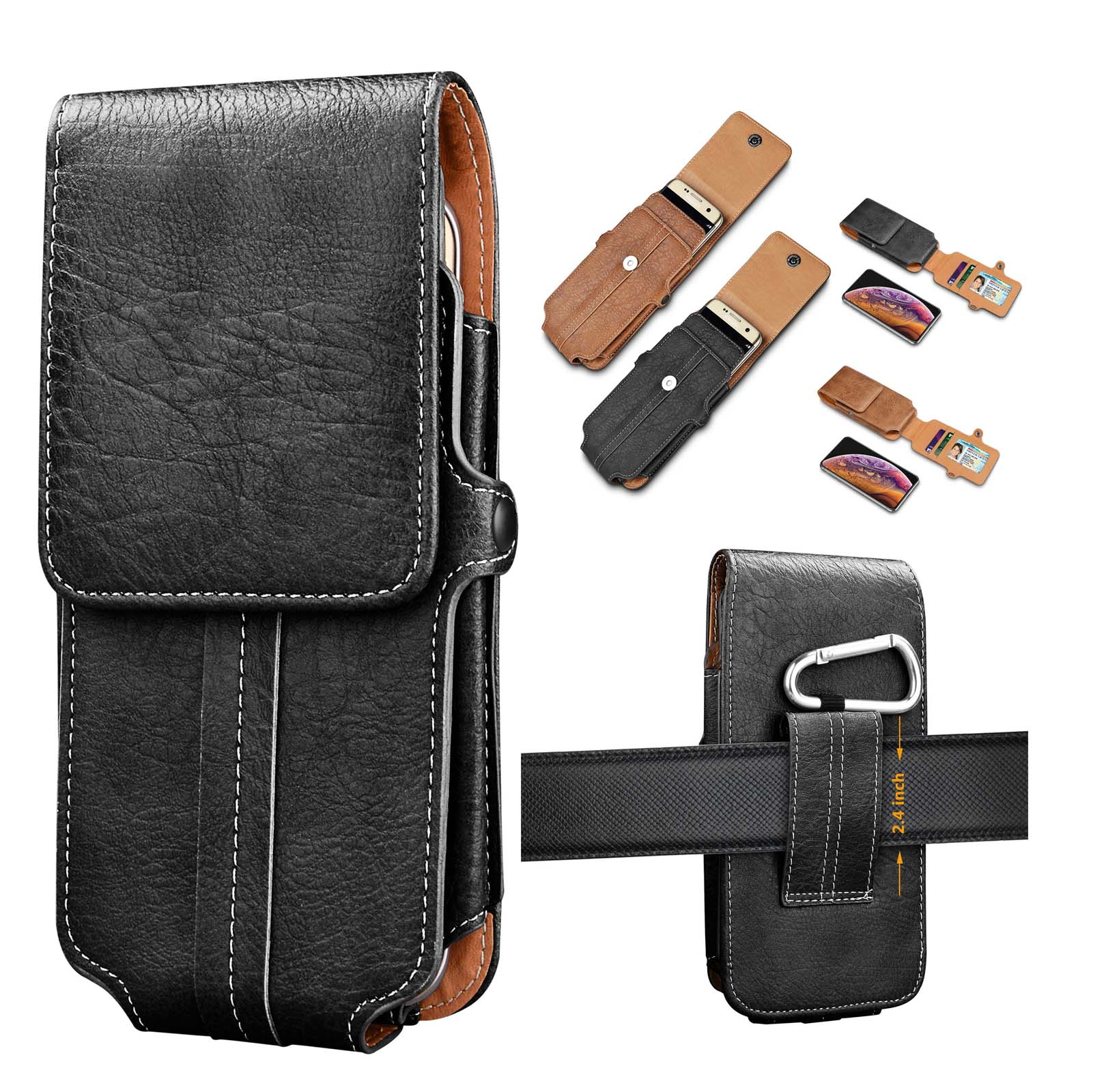 :iPhone 6 6s 7 Plus Vertical Leather Belt Case Clip