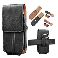 "Njjex 6.1"" iPhone XR Holster Case Vertical Leather Carrying Pouch with Belt Clip Loop -Black"