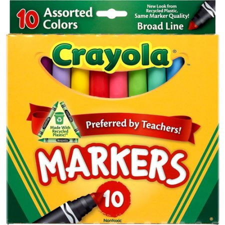 Crayola Classic Broad Line Markers, Assorted Colors, 10-Count