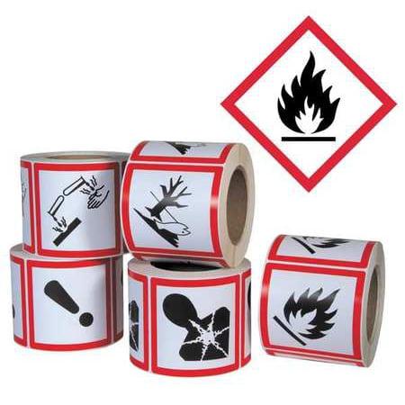 GHS SAFETY GHS1261 Pictogram Label,Flame Hazard,PK500 ()