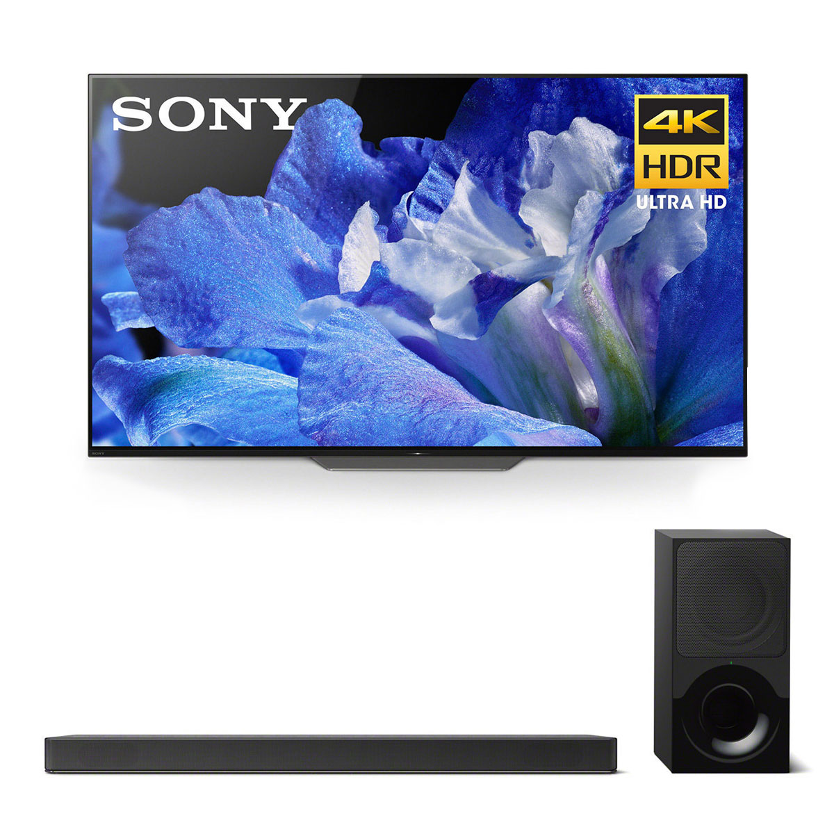 """Sony XBR-55A8F 55"""" BRAVIA OLED 4K HDR TV and HT-X9000F 2.1-Channel Dolby Atmos Soundbar with Subwoofer"""