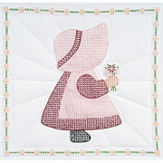 "Jack Dempsey Sunbonnet Girl Stamped White Quilt Blocks, 18"" x 18"""