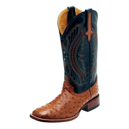 Ferrini Western Boots Mens Full Quill Ostrich Cognac Black 10193-02