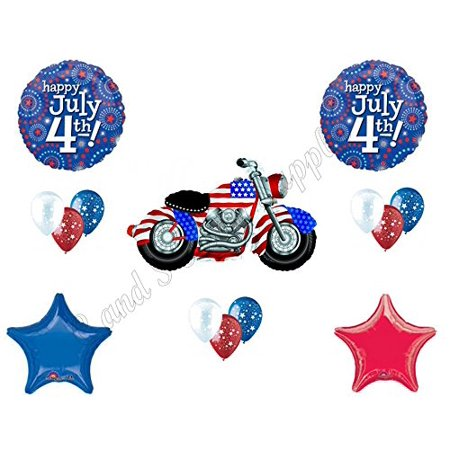 MOTORCYCLE 4TH JULY Party Balloons Decoration Supplies Biker Cookout Harley - Motorcycle Birthday Party Supplies
