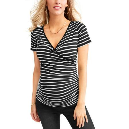 Sleeve Maternity Hoodie - Maternity Short Sleeve Stripe Nursing Top