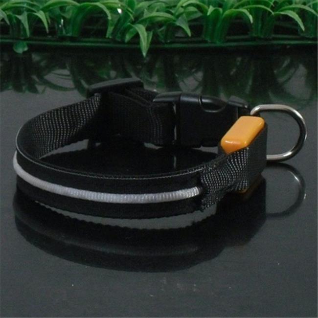 Sassy Dog Wear LED SINGLE LINE BLACK-M Single-Line Led Flashing Dog Collar, Black - Medium