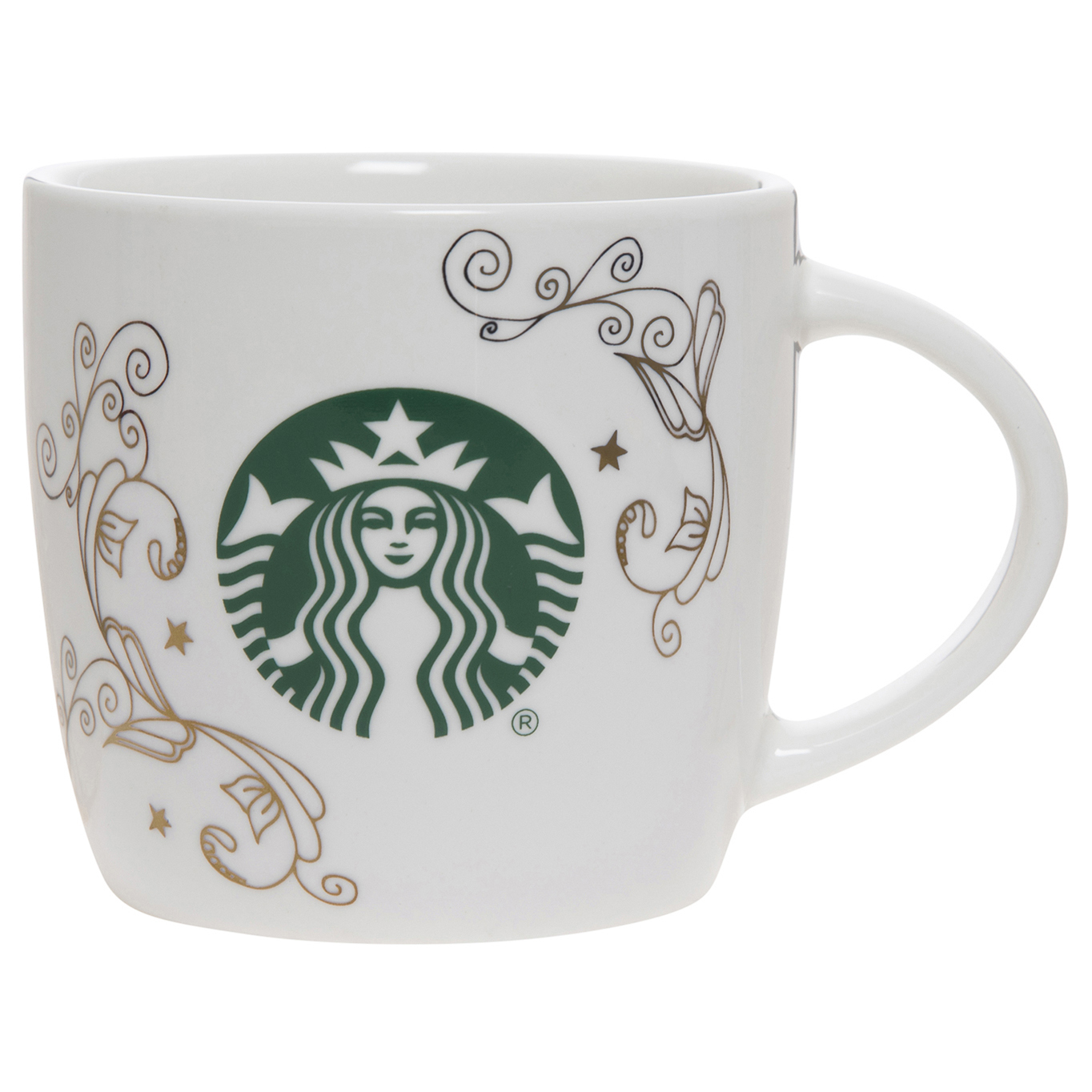 Starbucks 14oz Ceramic Mug White Swirl