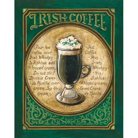 Irish Coffee - Mini Classy Recipe Classic Beer Drink Alcohol Awesome Ad Office Poster 11X14 (Halloween Drink Recipes Alcohol)