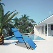 New Arrival New Folding Outdoor Lounge Chair Beach Sun Patio Chaise Pool Lawn Lounger Blue