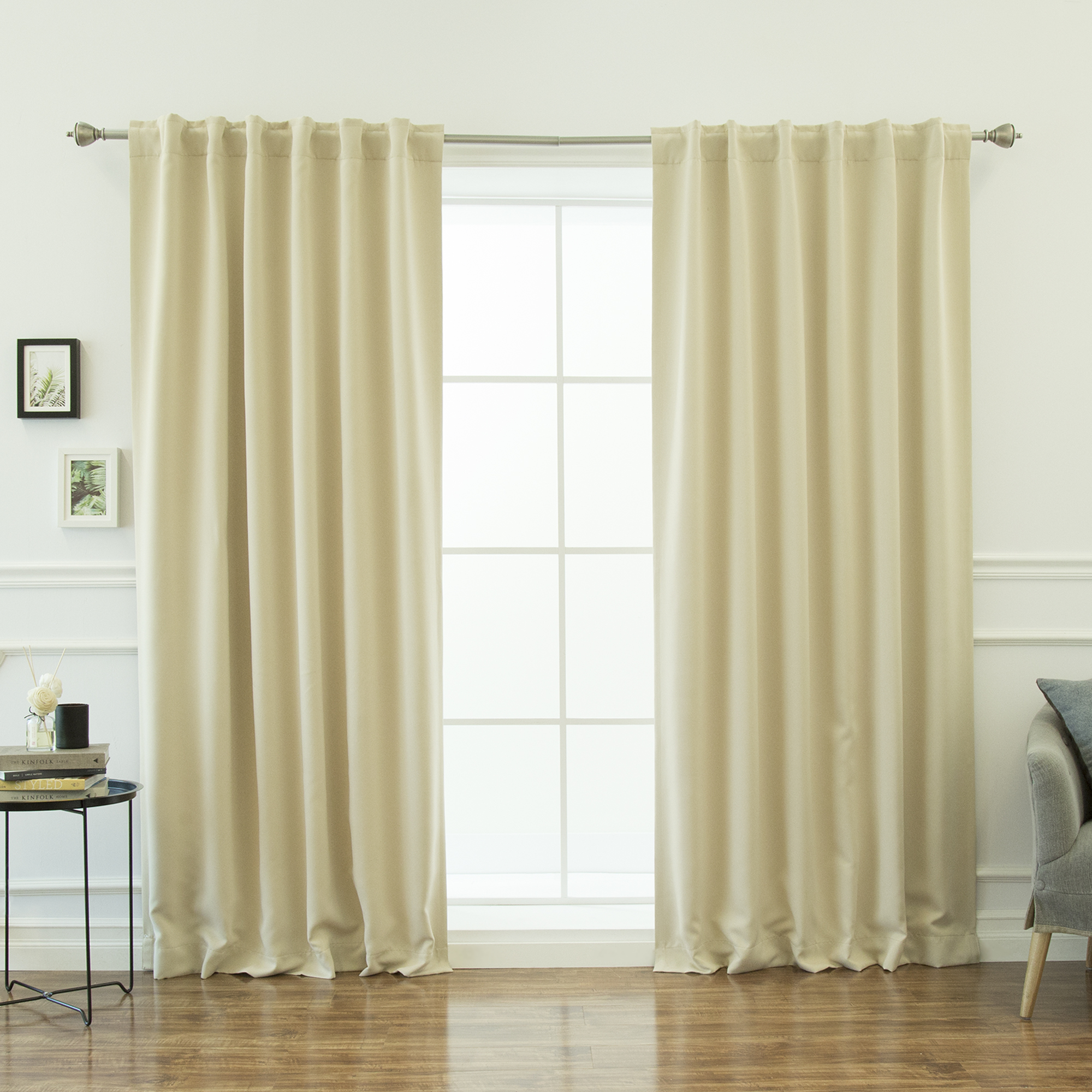 Quality Home Basic Thermal Blackout Curtains - Back Tab/Rod Pocket - Dark.Chocolate (Set of 2 Panels)
