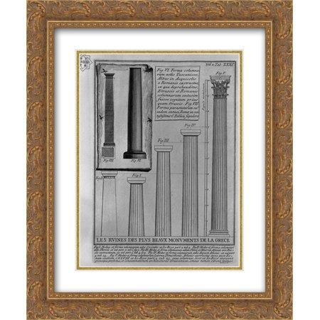 Doric Columns - Giovanni Battista Piranesi 2x Matted 20x24 Gold Ornate Framed Art Print 'Columns Doric, Corinthian and Tuscan (from Le Roy)'