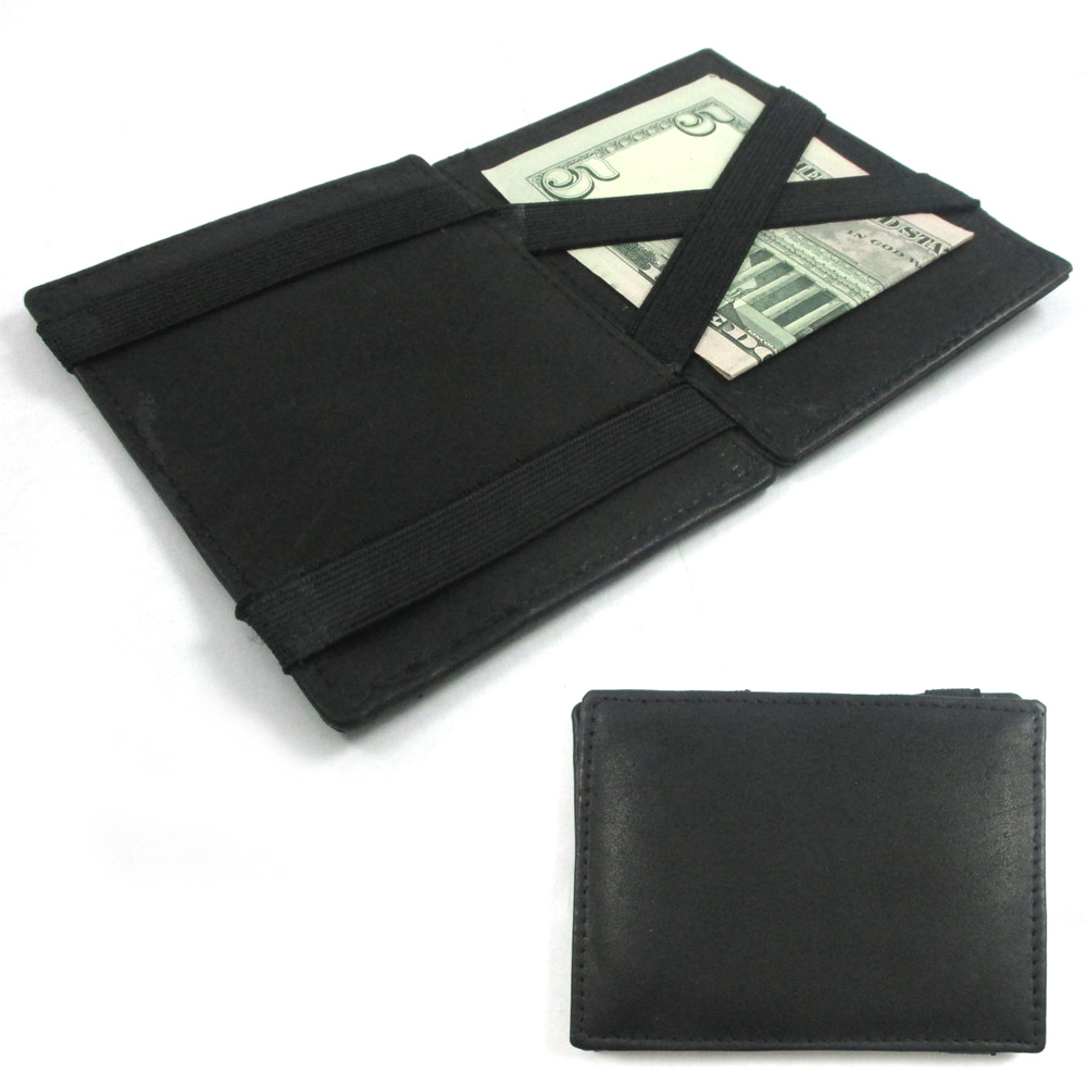 Mens Leather Magic Wallet ID Window Credit Cards Clip Money Holder Bifold Black