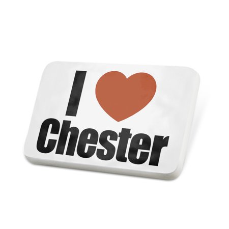Porcelein Pin I Love Chester region: North West England, England Lapel Badge – NEONBLOND