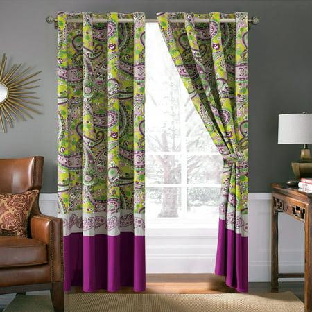 4-Pc Fionn Paisley Floral Stripe Embroidery Curtain Set Green Purple Gray Valance Drape Sheer -