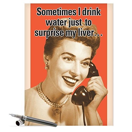 "J8915 Jumbo Hilarious Birthday Greeting Card: 'Drink Water' with Envelope (Jumbo Size: 8.5"" x 11"")"