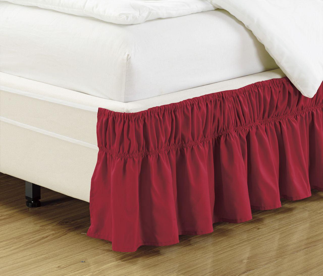 Elastic Wrap Around Wrap Around Elastic Easy Change Brushed Microfiber Ruffled Bedskirt by