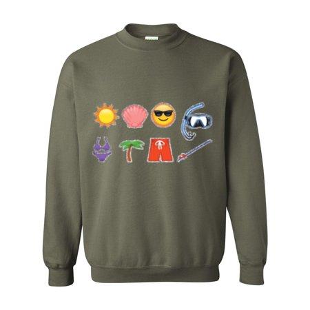 3b2f6725acc2 J_H_I - Emojis Sweatshirt Beach Icons Women's Crewneck Sweater ...