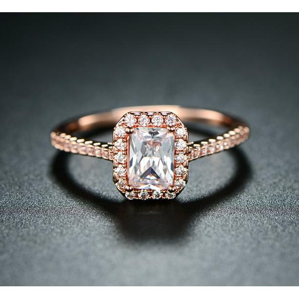 Peermont Jewelry 18k Rose Gold Plated Cubic Zirconia Emerald Cut Engagement Ring Walmart Com Walmart Com