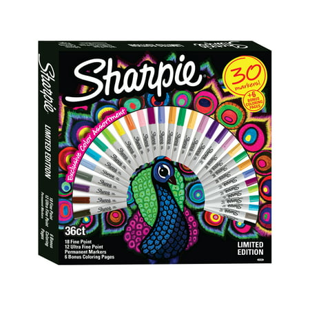 sharpie permanent marker limited edition set exclusive color assortment plus 6 bonus coloring sheets