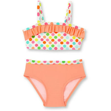 Op Newborn Baby Girl Confetti Dot Ruffle Trim 2 Piece Swimsuit