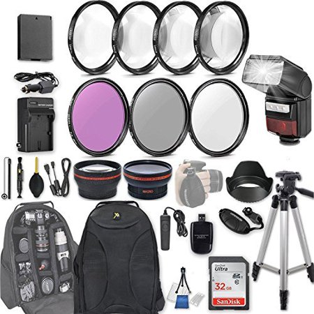 58mm 28 Pc Accessory Kit for Canon EOS Rebel T6, T5, T3, 1300D, 1200D, 1100D DSLRs with 0.43x Wide Angle Lens, 2.2x Telephoto Lens, LED-Flash, 32GB SD, Filter & Macro Kits, Backpack Case, and