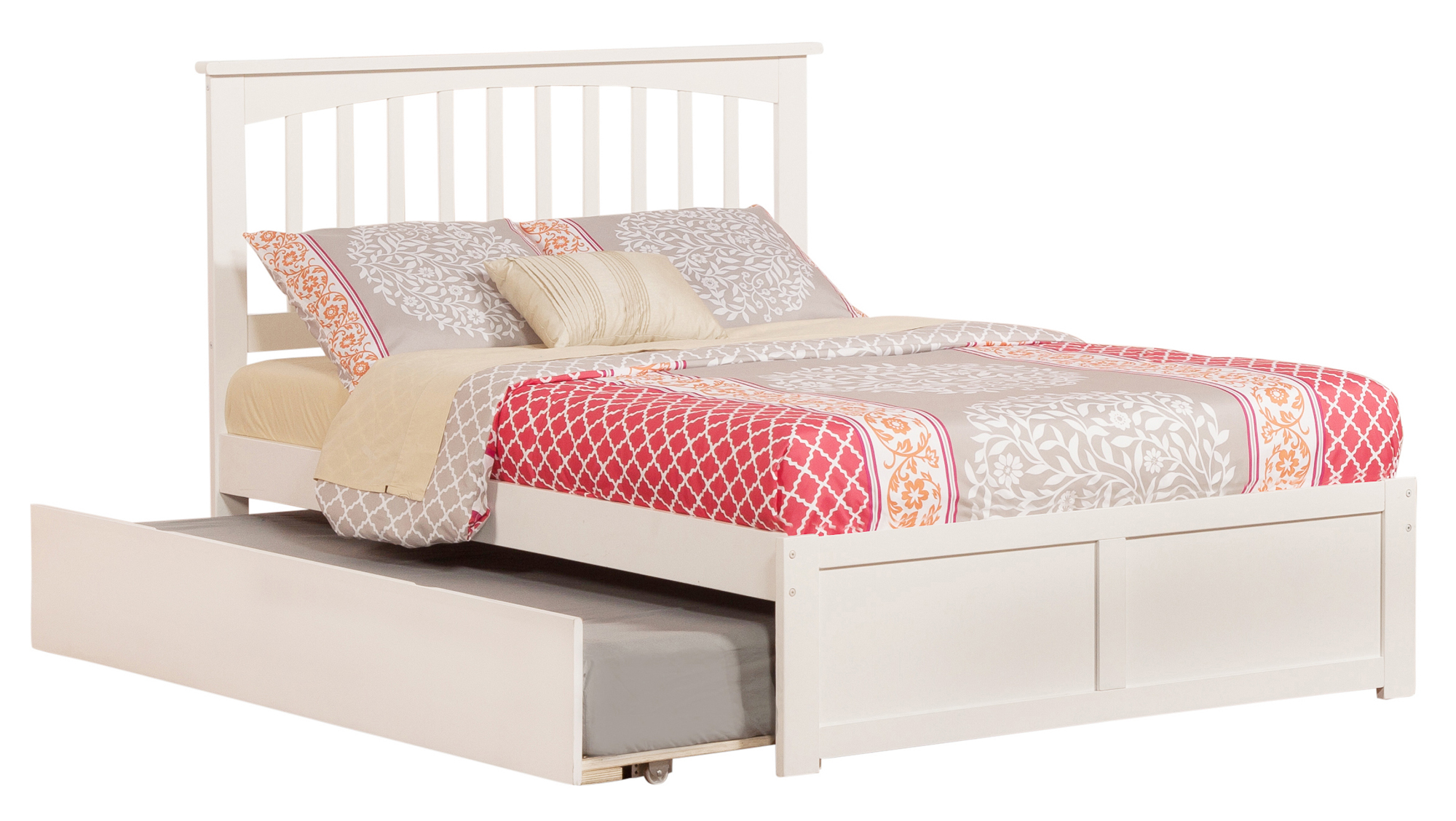 Mission Full Platform Bed with Flat Panel Foot Board and Twin Size Urban Trundle Bed in White by Atlantic Furniture