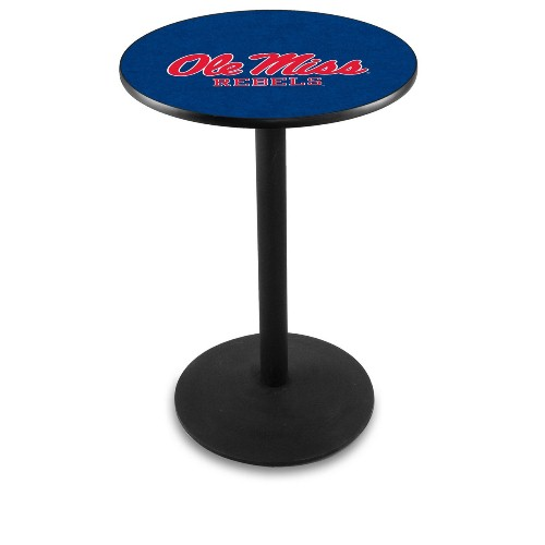 NCAA Pub Table by Holland Bar Stool, Black - University of Mississippi, 36'' - L214