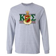 Kappa Sigma Long Sleeve T-shirt Greek Letters with Large Crest Design - White & Sport Gray