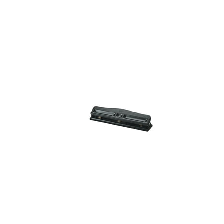 School Smart 3-Hole Semi-Adjustable Paper Punch, 12 Sheets, Black, Enamel
