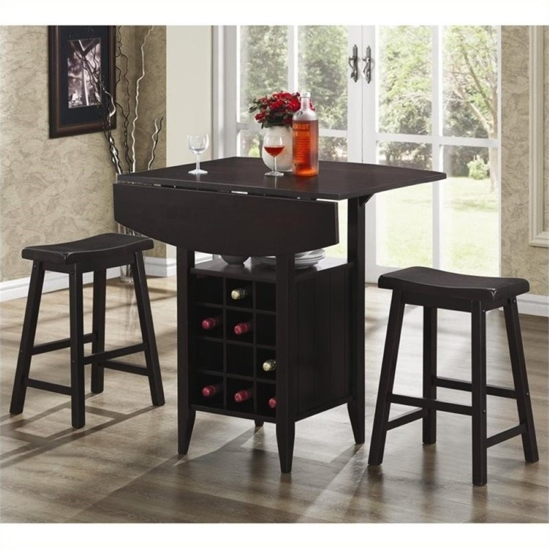 Bowery Hill 3 Piece Drop Leaf Bar Table And Stool Set In Espresso