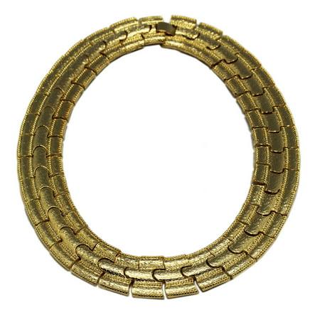 Puzzle Piece Sectioned Gold Colored Choker Necklace (Puzzle Piece Necklace Set)