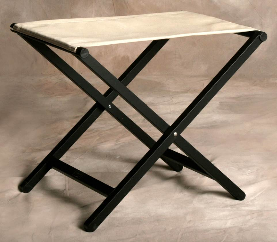 Folding Footstool w Small Aluminum Frame in Linen by Sutton Bridge