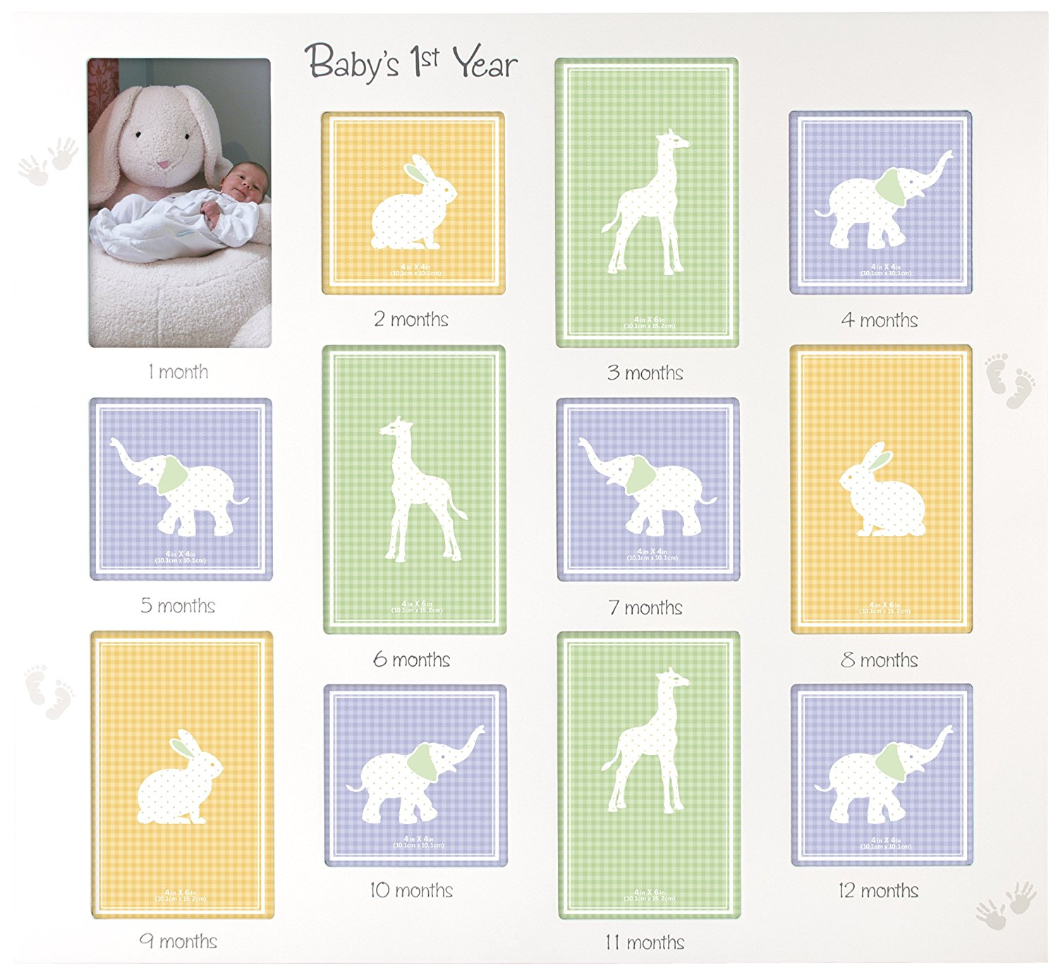 Babys 1st Year Wall Collage Picture Frame 12 Option 6 4x6 6 4x4
