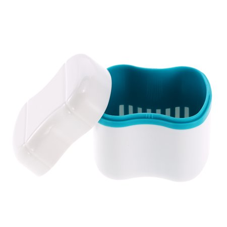 Denture Bath Box Case Dental False Teeth Cleaning Container Rinsing Basket Retainer Appliance Holder Tray ()