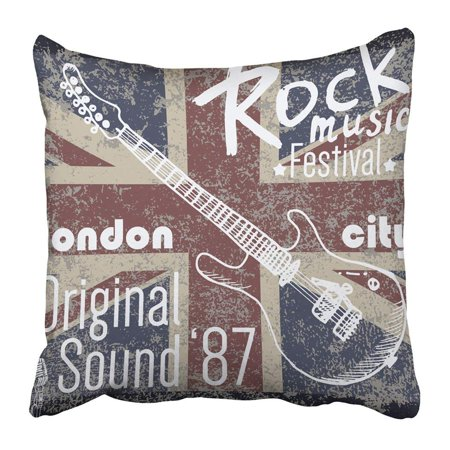 Image of ARTJIA Design Graphics London Rock Festival With Flag And Sketch Guitar Badge Applique Pillowcase 20x20 inch