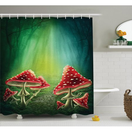 Mushroom Decor Shower Curtain Set, Mushroom House With A Garden Of Flowers Balloons Floral Stripes Circus Tent, Bathroom Accessories, 69W X 70L Inches, By - Shower Of Flowers