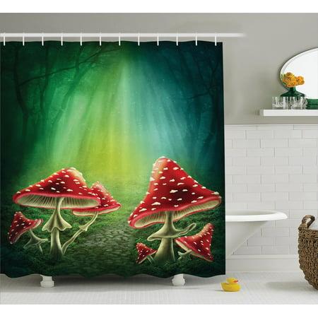 Mushroom Decor Shower Curtain Set Mushroom House With A
