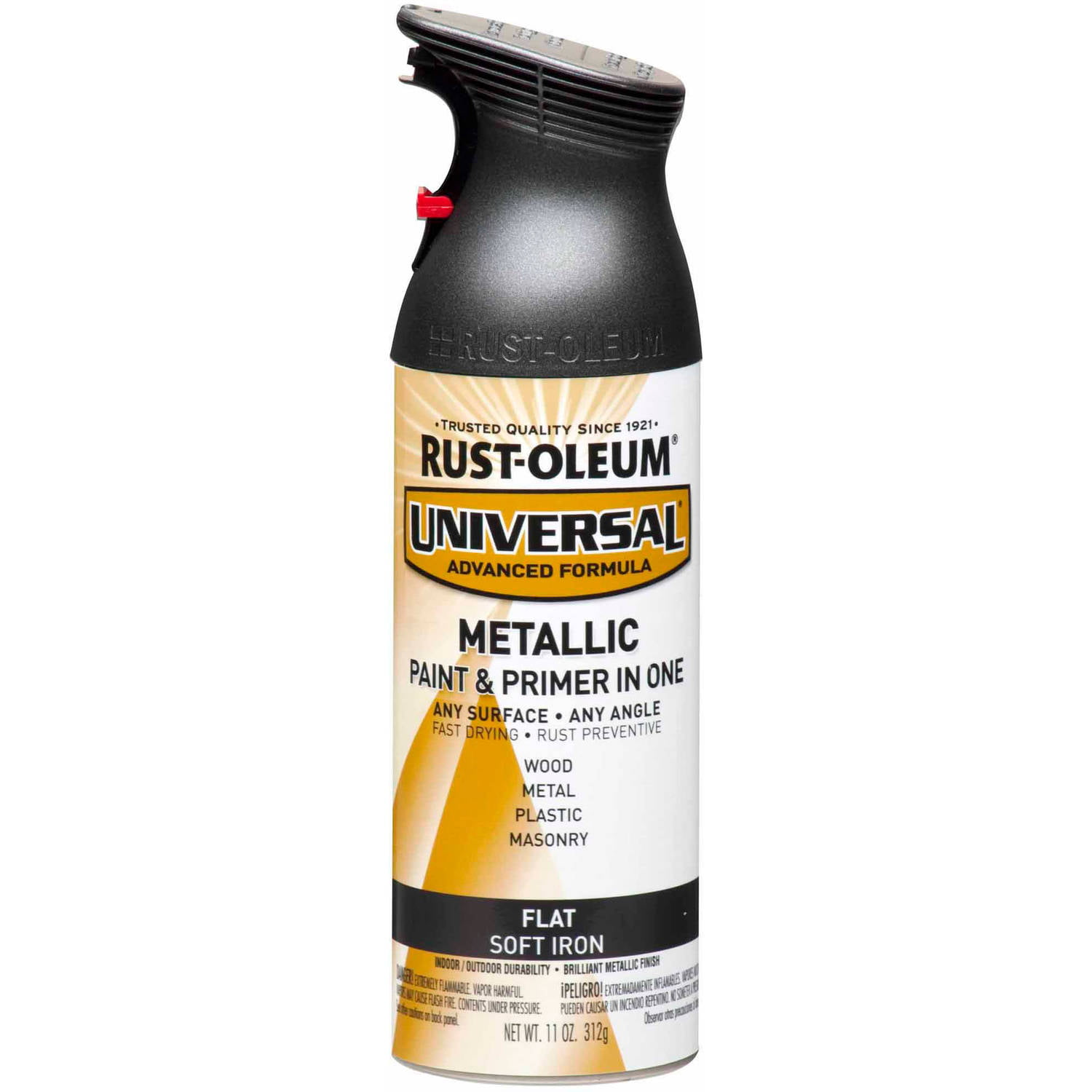Rust Oleum Universal All Surface Flat Metallic Soft Iron Spray Paint And Primer In 1 11 Oz Walmart Com