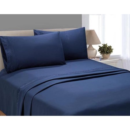 Better Homes and Gardens Luxury Microfiber Embroidered Sheet Set, Twin