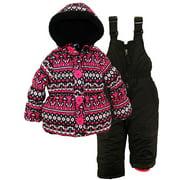Pink Platinum Little Girls Snowsuit Fair Isle Jacket with Solid Snow Ski Bib