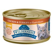 (24 Pack) Blue Buffalo Wilderness Wild Delights Chicken & Turkey Grain Free Flaked Wet Cat Food, 3 oz. Cans,