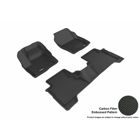 3D MAXpider 2016-2017 Ford Escape Front, Second, & Third Row Set All Weather Floor Mats in Black with Carbon Fiber Look 2012 Ford Escape Rubber