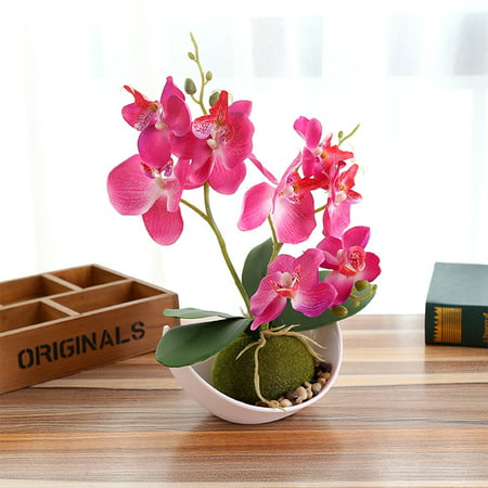 3-Branch Artificial Butterfly Orchid In Pots, Fake Simulate Potted Bonsai Plant for Home Garden Office Desk Decoration Color:Rose Red - image 1 de 6