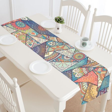 MKHERT Patchwork Vintage Bohemian Boho Elements Table Runner Home Decor for Wedding Party Banquet Decoration 16x72 Inch](Halloween Table Runner Quilt Patterns)