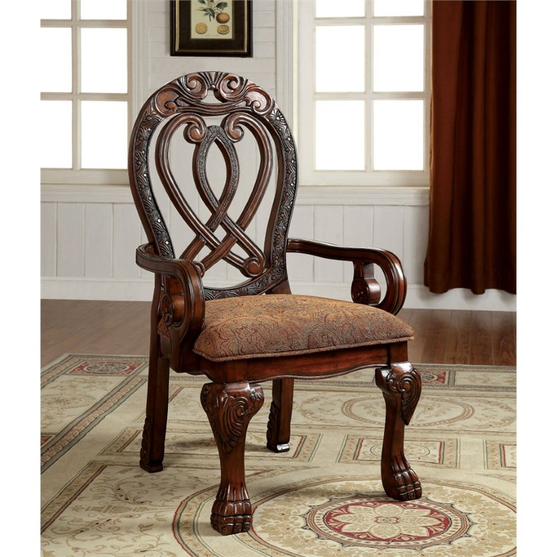 Furniture of America Madison Dining Armchair in Cherry (Set of 2) by Furniture of America
